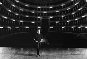 Zeffirelli on stage at La Scala Opera House in Milan