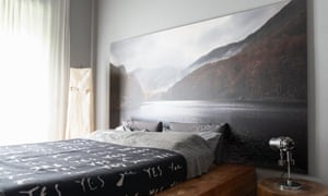 Sweet dreams: the bedroom in peaceful grey, in keeping with the rest of the apartment.