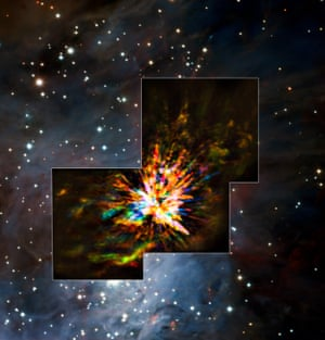 Stellar explosions are most often associated with supernovae, the spectacular deaths of stars. But new observations of the Orion Nebula complex provide insights into explosions at the other end of the stellar life cycle: star birth. Astronomers captured these dramatic images of the remains of a 500-year-old explosion as they explored the firework-like debris from the birth of a group of massive stars. The blue colour represents gas approaching at the highest speeds; the red is from gas moving toward us more slowly.