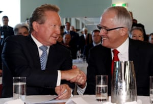 Malcolm Turnbull with Andrew 'Twiggy' Forrest at a press conference to announce his philanthropic gift