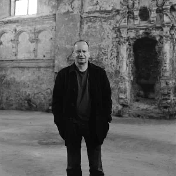 Philippe Sands at Źołkiew synagogue, near Lviv, Ukraine, in 2015 – near where relatives were buried in a mass grave.