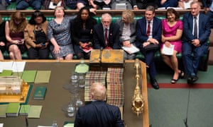 Boris Johnson faces the Labour front bench during prime minister's questions.