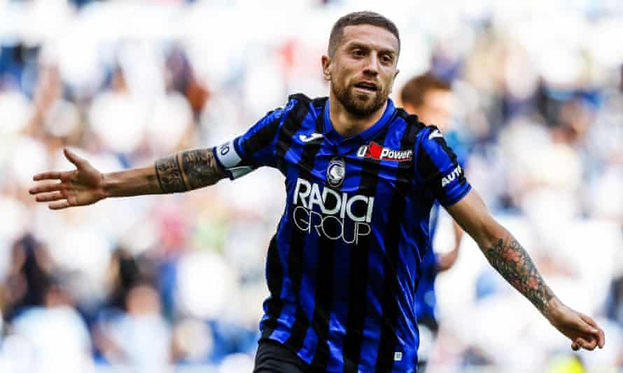 Atalanta's Alejandro Gomez celebrates after scoring against Lazio in their 3-3 Serie A draw on Saturday.