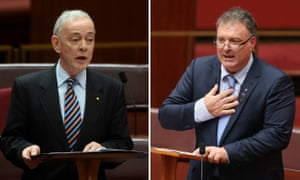 Family First senator Bob Day, left, has been joined by One Nation senator Rod Culleton on his road to the high court.