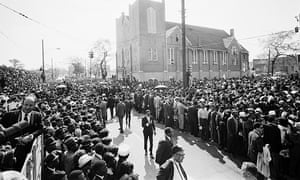 Crowds formed in the streets around Ebenezer Baptist Church in downtown Atlanta, where funeral services for Martin Luther King Jr were held.