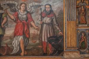 A painting depicting a bear, in the Sanctuary of Saint Romedius, Sanzeno village.