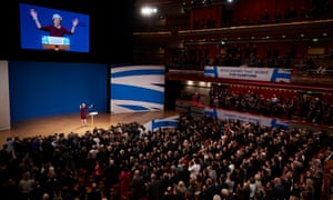 Theresa May making her keynote speech to the Conservative party conference in Birmingham, 5 October 2016