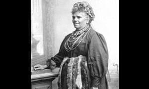 Fanny Cochrane Smith wearing a belt with wallaby pelts.