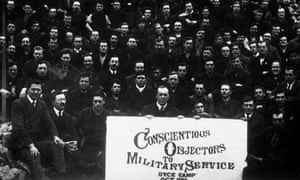 Conscientious objectors to military service at a special prison camp during the first world war, circa 1915