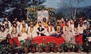 The Beatles with friends, family and the Maharishi Mahesh Yogi in 1968, Rishikesh, India.