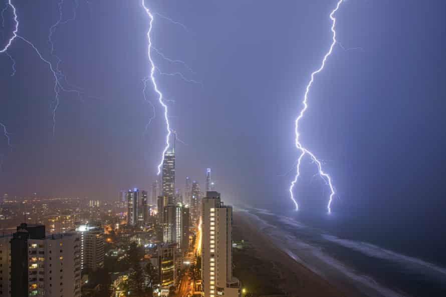 Summer storm hovering over Surfers Paradise in south-east Queensland on Tuesday.