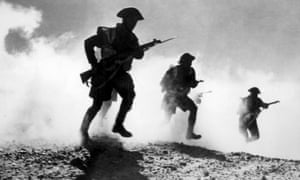 British troops advancing during the battle of El Alamein, 1942