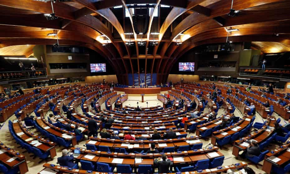 Members of the parliamentary assembly of the Council of Europe take part in a debate on Turkish democracy, in Strasbourg.