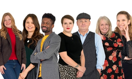 Left to right: Libby Page, Mary Lynn Bracht, Michael Donkor, Imogen Hermes Gowar, Mick Kitson, AJ Pearce, Lisa Halliday.