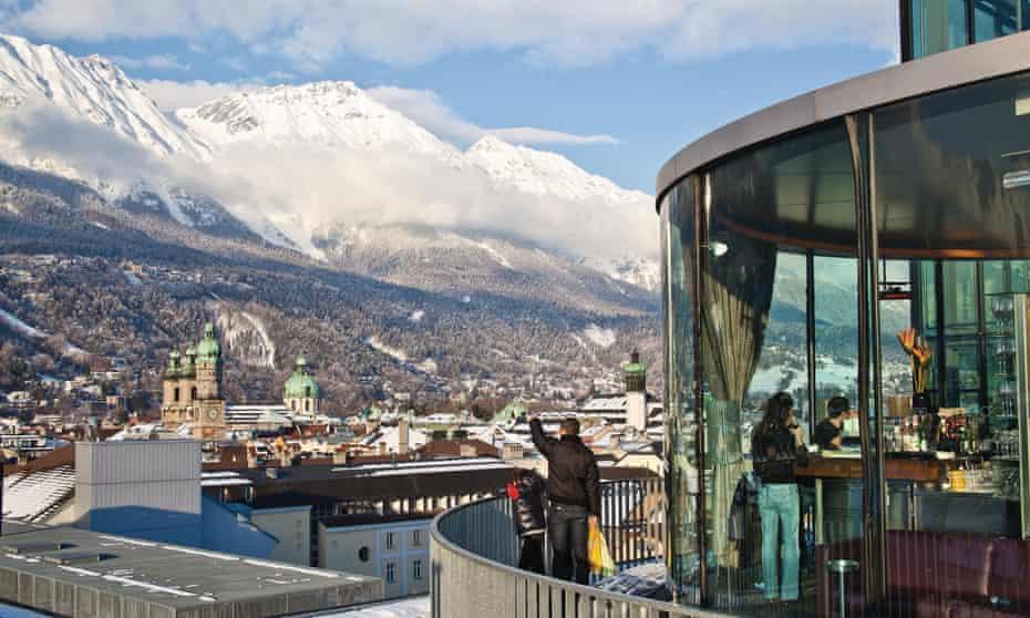 Terrace of Café Lichtblick in winter