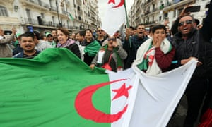 Algerians protest in the capital, Algiers, on Friday