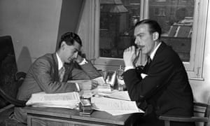 Denis Norden, left, and Frank Muir in their office in the 1950s writing scripts for the radio show Take It from Here.