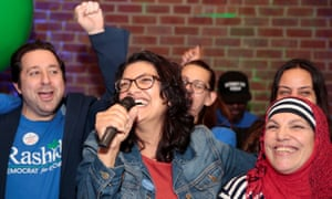 Michigan congressional candidate Rashida Tlabi celebrates becoming, along with Minnesota's Ilhan Omar, the first Muslim women in Congress.