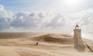 Sandstorm at the lighthouse Rubjerg Knude in North Jutland, Denmark