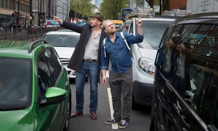 Stuart Heritage and Tristan Gooley in traffic