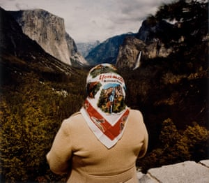 Photographer Roger Minick was interested in how people experienced the parks, and the sense of awe that struck them, as if on a religious pilgrimage. In 1976, he began documenting this in his series, Sightseers. Left: Minick's Woman With Scarf At Inspiration Point, Yosemite, 1980.