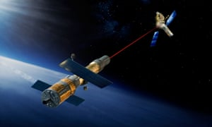one satellite firing a laser at another