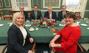 Arlene Foster, first minister of Northern Ireland (front right), and Michelle O'Neill, deputy first minister, with (left to right) Tanaiste Simon Coveney, Taoiseach Leo Varadkar, Prime Minister, Prime Minister Boris Johnson, and Secretary of State for Northern Ireland Julian Smith in the Stormont Parliament Buildings in Belfast.