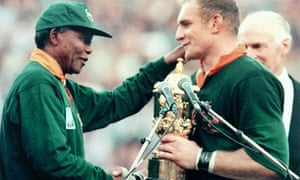 Nelson Mandela and Francois Pienaar after 1995 World Cup final