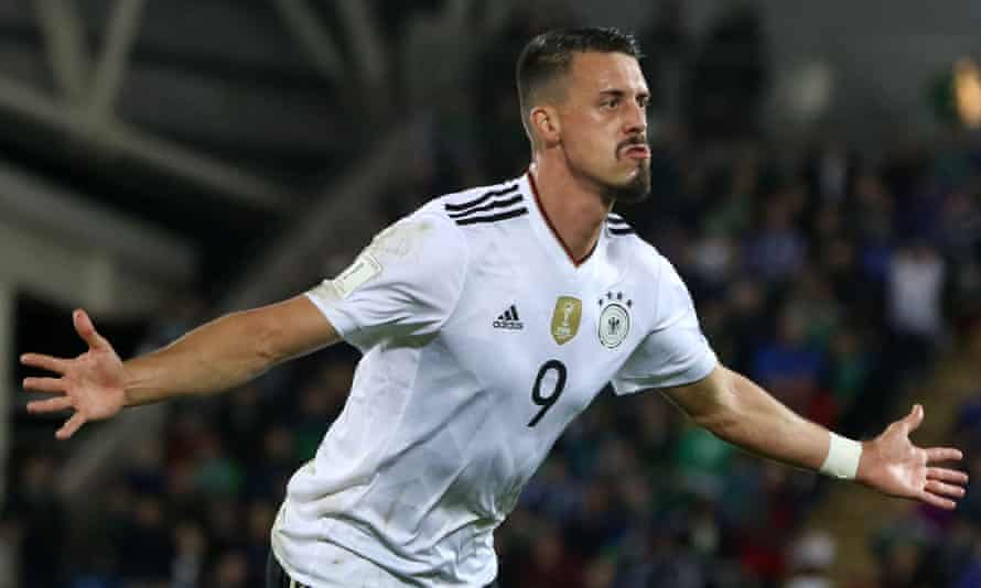 Sandro Wagner celebrates after scoring Germany's second goal of the match.