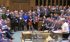 Theresa May speaks to the House of Commons after British participation in military strikes on Syria.