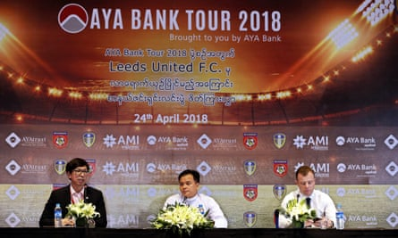 Angus Kinnear (right), the managing director of Leeds United, at the announcement of Leeds' post-season tour in Yangon on Tuesday.