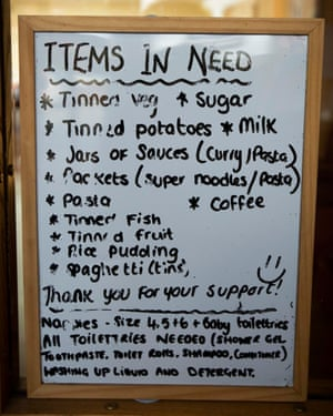 A sign at the Salvation Army food bank in Preston, Lancashire.