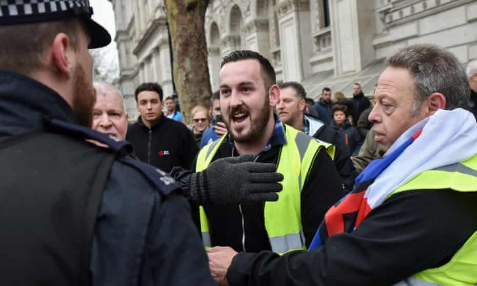 James Goddard (C) during a pro-Brexit protest in Whitehall last Saturday.