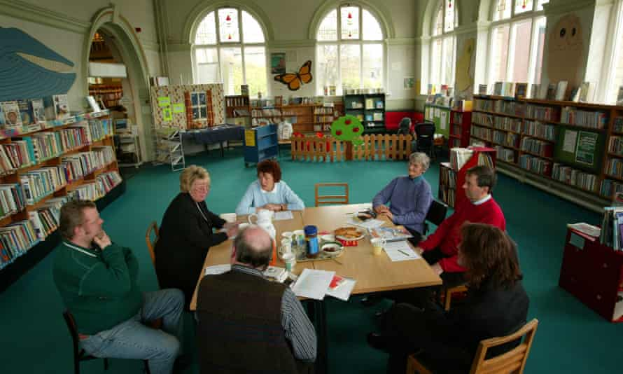 A bibliotherapy session at Batley library, West Yorkshire in 2002. The weekly 'Book Chat' gatherings were prescribed for people with depression.