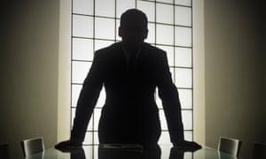 boardroom silhouette of businessman