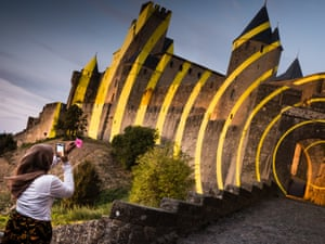 Art installation by Felice Varini on the medieval walls of Carcassonne, France.