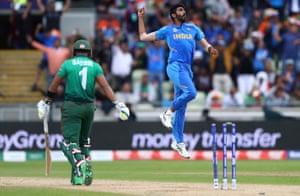 Jasprit Bumrah of India celebrates bowling Sabbir Rahman of Bangladesh.