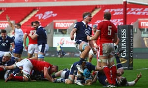 The Scotland players react to the decisive try from Stuart McInally in their 2020 Six Nations match.