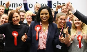 Labour candidate Janet Daby celebrates with her supporters after winning the Lewisham East parliamentary byelection.