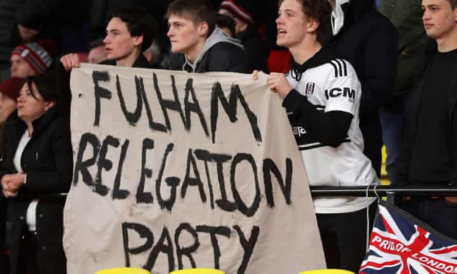 Fulham fans 'celebrate' the club's relegation from the Premier League.