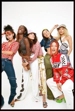 Yasmin wears, Top, £685, stellamccartney.com, Jeans £479, Cotton Citizen selfridges.com, Zahra wears, Top, £20, Kappa footlocker.co.uk, Trousers, £890, faithconnexion.com, Shoes, £620,  versace.com, Helene wears, Top, £100, ariesarise.com, Trousers, £1,560, versace.com, Shoes, £675, christian louboutin.com, Izzy wears, Jacket, £454, Cotton Citizen selfridges.com, Trousers, £550, Marques'Almeida farfetch.com, Shoes, £65, converse.com, Kesang wears, Top, £435, off---white.com, Jacket, £1,170, Gucci net-a-porter.com Trousers, £245, MM6 urbanoutfitters.com, Alexa, Top, £510, Davidkoma.co.uk, Trousers, £455, marquesalmeida.com