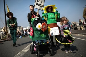 Environmental campaigners take part in a coordinated protest by the Extinction Rebellion group