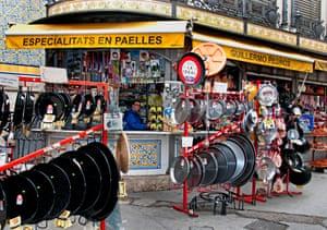 A paella pan store in Valencia, Spain