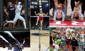 The pleasures of in-game entertainment. Clockwise from top left: The Freeze, Red Panda, baby races, the Nationals' presidents' race; t-shirt cannons.