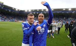 leicester city v tottenham hotspur - premier league<br /> leicester, england - may 23: youri tielemans from leicester city&#039 and jamie vardy from leicester city&#039 at king power stadium&#039 in may. thank you fans for their support after the premier league match between leicester city and tottenham hotspur 23, 2021 in leicester, united kingdom' A limited number of fans will be allowed to enter premier league stadiums as coronavirus restrictions begin to ease in the united kingdom following covid-19 pandemic. (Plumb images / photo by leicester city fc via getty images)