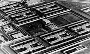 Aerial view of the H-blocks at the Maze prison