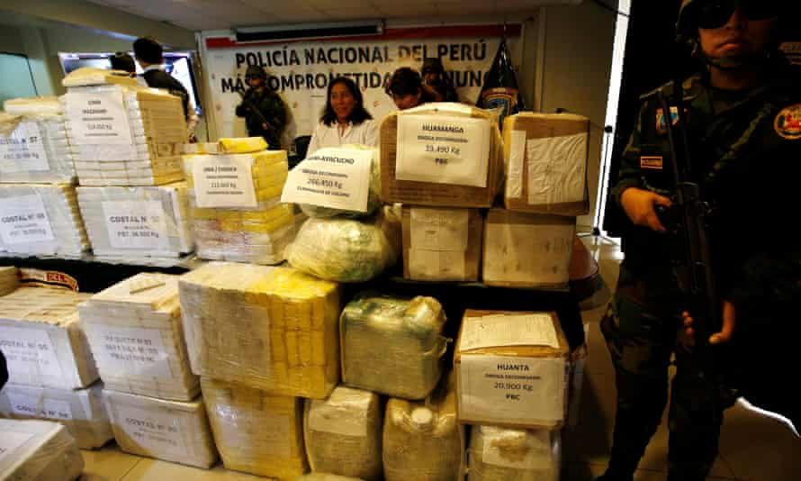 Another day, another drugs haul. These bricks of cocaine and were seized and displayed on Wednesday in Lima.