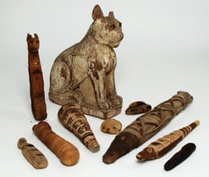 A selection of votive mummies from the Gifts for the Gods exhibition at Manchester Museum, University of Manchester