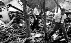 Wreckage of the DC6B plane, which was carrying UN secretary general Dag Hammarskjöld, in a forest near Ndola, Zambia, in September 1961