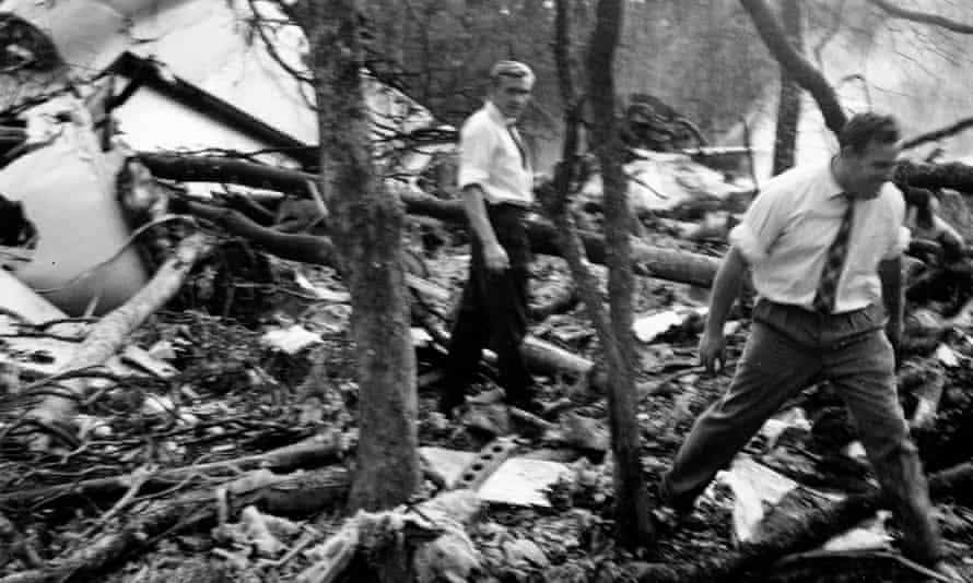 Wreckage of the DC6B plane, which was carrying UN secretary general Dag Hammarskjöld, in a forest near Ndola, Zambia, in September 1961